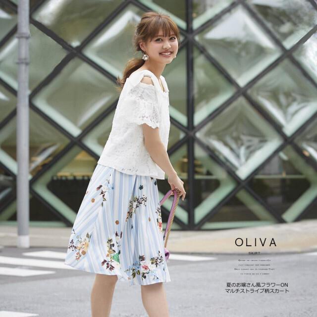 tocco(トッコ)の新品タグ付き tocco フラワー×ストライプスカート chesty ワンピ レディースのスカート(ひざ丈スカート)の商品写真