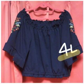 新品タグ付き❤今季*4L*今年トレンド*花柄刺繍袖のオフショルダートップス②(チュニック)