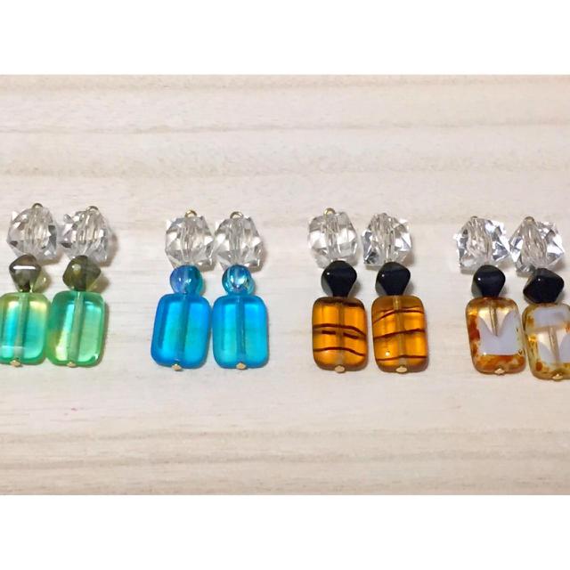 チェコガラス×クリア ハンドメイドのアクセサリー(ピアス)の商品写真