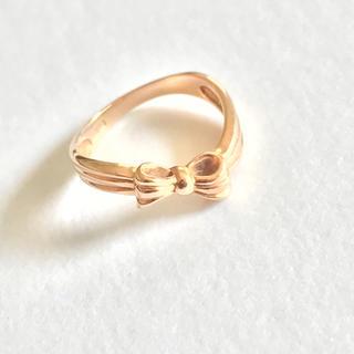 ピンキーリング ピンクゴールド リボン K18(リング(指輪))