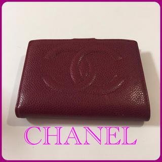 シャネル(CHANEL)の格安☆CHANEL 折り財布 レッド がま口 送料込み(財布)