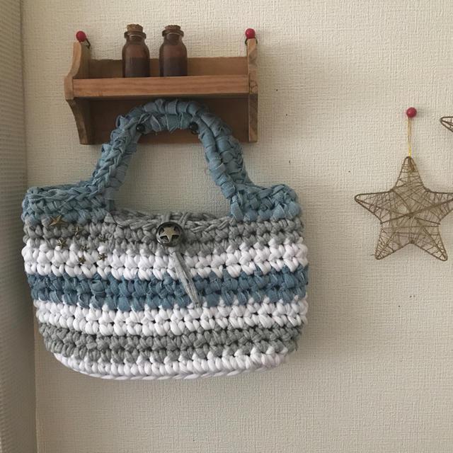 ズパゲッティバッグ ミニトート 星スタッズ グレー×デニム ポーチプレゼント ハンドメイドのファッション小物(バッグ)の商品写真