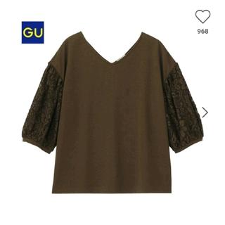 ジーユー(GU)のGU レーススリーブT ブラウン サイズS 袖 レース(シャツ/ブラウス(半袖/袖なし))