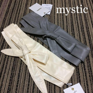 ミスティック(mystic)の新品タグ【mystic 】サッシュベルト ホワイト 太ベルト(ベルト)