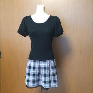 バービー(Barbie)のバービーBarbie チェック柄スカートのニットワンピース(ミニワンピース)