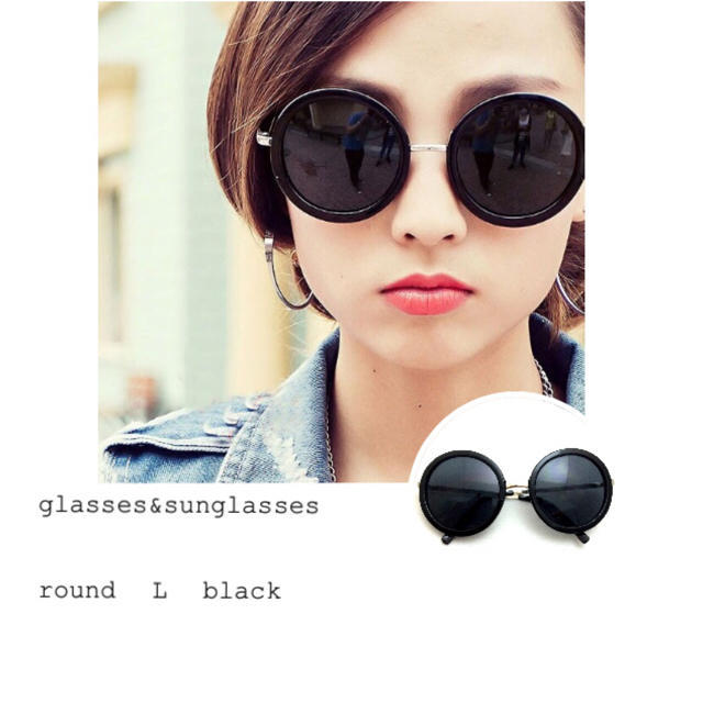 ラウンド型×メタルラージ ブラック レディースのファッション小物(サングラス/メガネ)の商品写真