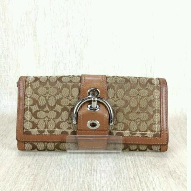 COACH(コーチ)のCOACH長財布ウォレット❤キャンバス❤シグネチャー❤茶色ブラウン❤別タイプ出品 レディースのファッション小物(財布)の商品写真