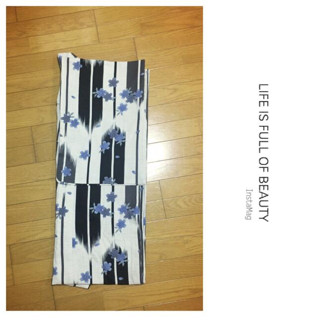 浴衣 セット 矢絣 矢羽根 白 紺 utatane bonheur  レディースの水着/浴衣(浴衣)の商品写真