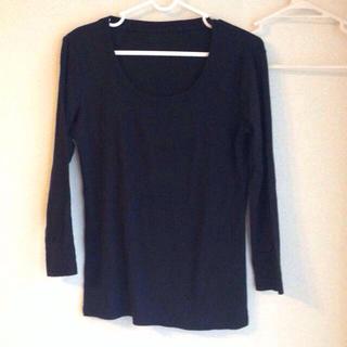 ジーユー(GU)の黒ロンT(Tシャツ(長袖/七分))