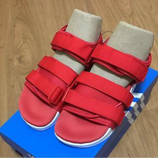 アディダス(adidas)の☆お値下げ☆新品☆adidas アディレッタ サンダル レッド25.5cm(サンダル)