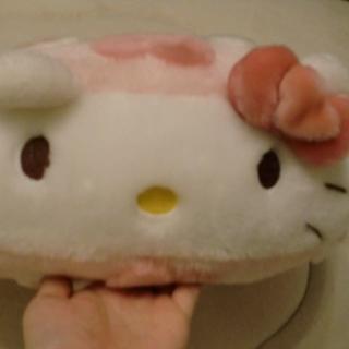 【美品】キティちゃんクッション(丸型)(ビーズソファ/クッションソファ)