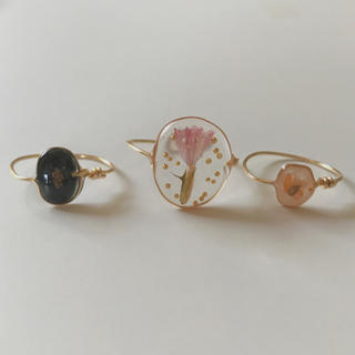 no.81 ▽dried flower wire ring▽ 3点セット(リング)