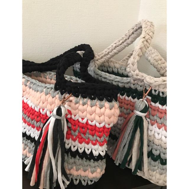 ズパゲッティバッグ ミックスカラートート ピンクミックス カラフルタッセル ハンドメイドのファッション小物(バッグ)の商品写真