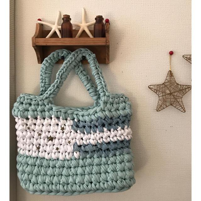 ズパゲッティバッグ 星条旗風ミニトート 水色 デニム ハンドメイドのファッション小物(バッグ)の商品写真
