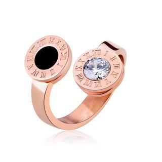 14Kピンクゴールド鍍金 CZダイヤローマ字リング(リング(指輪))