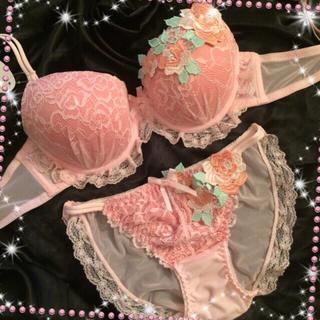 薔薇刺繍付レースブラジャー&バック透けフルバックショーツ(ブラ&ショーツセット)