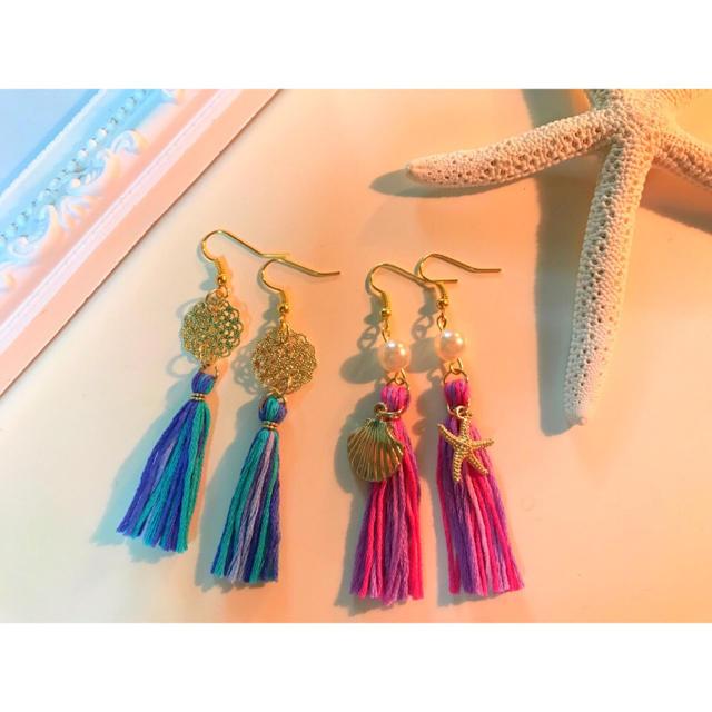 tassel ブルー (イヤリング) 送料¥150込み ハンドメイドのアクセサリー(イヤリング)の商品写真