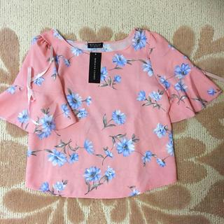 シマムラ(しまむら)の花柄袖リボントップス(カットソー(半袖/袖なし))