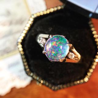 ヴィンテージ✩18k ウォーターオパールとダイヤの唐草リング⋆アガット 好きな方(リング(指輪))
