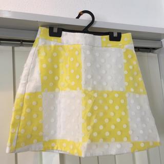 トップショップ(TOPSHOP)の【フリラボ】TOPSHOP カキ氷風⁉︎黄色水玉ミニ(ミニスカート)