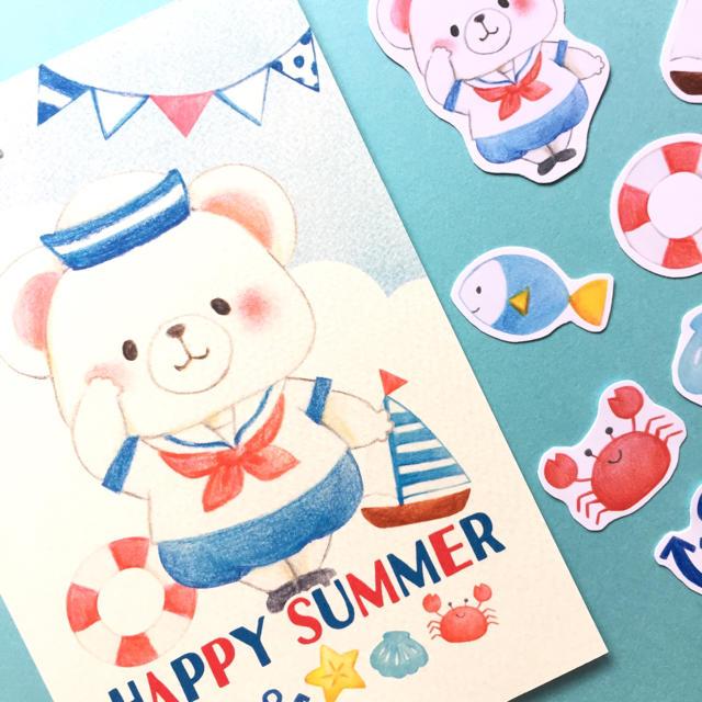 夏セット|ポストカード&フレークシール ハンドメイドの文具/ステーショナリー(カード/レター/ラッピング)の商品写真