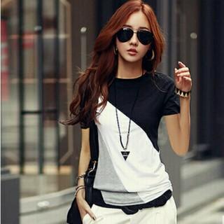 Tシャツ レディース 色切り替えtシャツ トップス M ブラック ファッション(Tシャツ(半袖/袖なし))