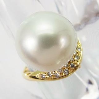 ☆K18 南洋白蝶真珠(パール) ダイヤ リング/ペントップ[627-6](リング(指輪))