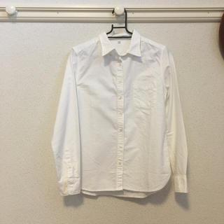 無印良品 良品計画 シャツ カットソー ボタンダウン ストライプ M 紫 白 レディース ベクトル【中古
