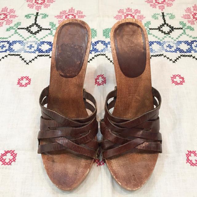 ブラウンレザー ウッドサンダル/古着 ビンテージ vintage レディースの靴/シューズ(サンダル)の商品写真