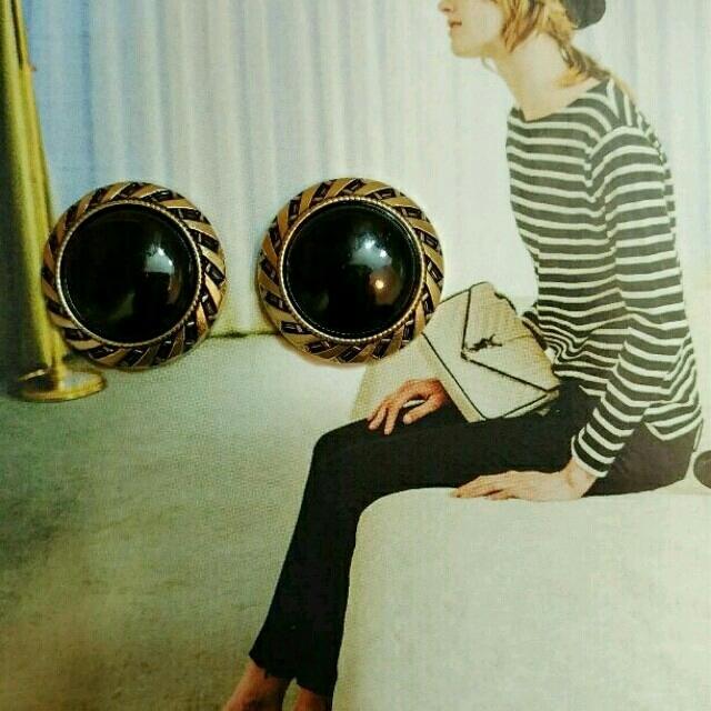 二点限定☆アンティークゴールド×ブラック☆ハンドメイドピアス goa好き ハンドメイドのアクセサリー(ピアス)の商品写真