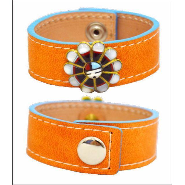 革ブレス サンフェイスコンチョ オレンジ色 ブレス 10007230   ハンドメイドのアクセサリー(ブレスレット/バングル)の商品写真