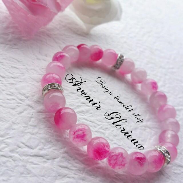チェリーピンクキャンディ/天然石ブレスレット/パワーストーンブレスレット ハンドメイドのアクセサリー(ブレスレット/バングル)の商品写真