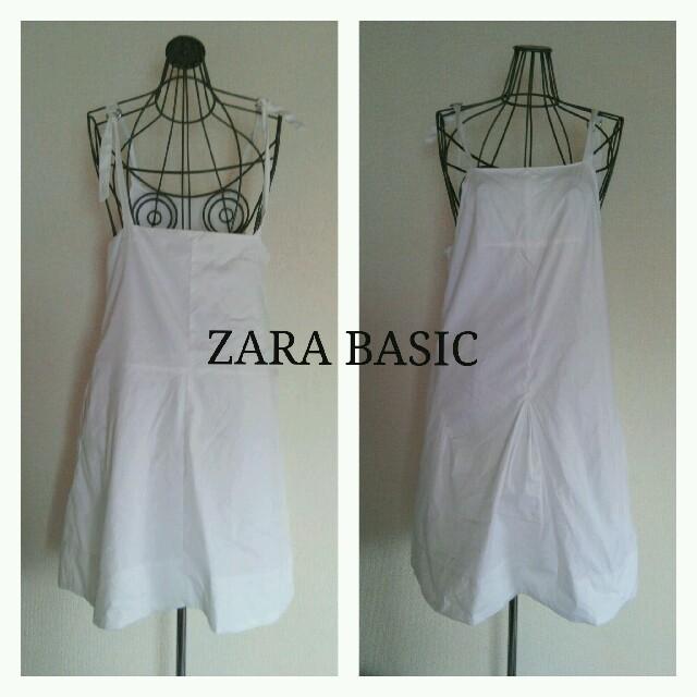 ZARA(ザラ)の3点6千7点1万セール ZARA BASIC 白ジャンパースカート レディースのワンピース(ひざ丈ワンピース)の商品写真