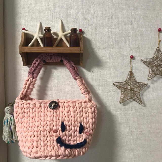 ズパゲッティバッグ スマイルミニマルシェ ピンク ミニマルシェプレゼント ハンドメイドのファッション小物(バッグ)の商品写真