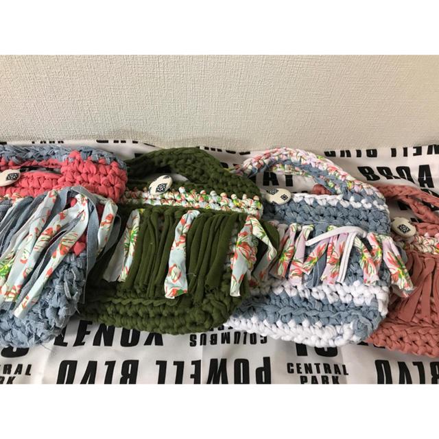 ズパゲッティバッグ スマイルミニマルシェ 水色 ミニマルシェプレゼント ハンドメイドのファッション小物(バッグ)の商品写真