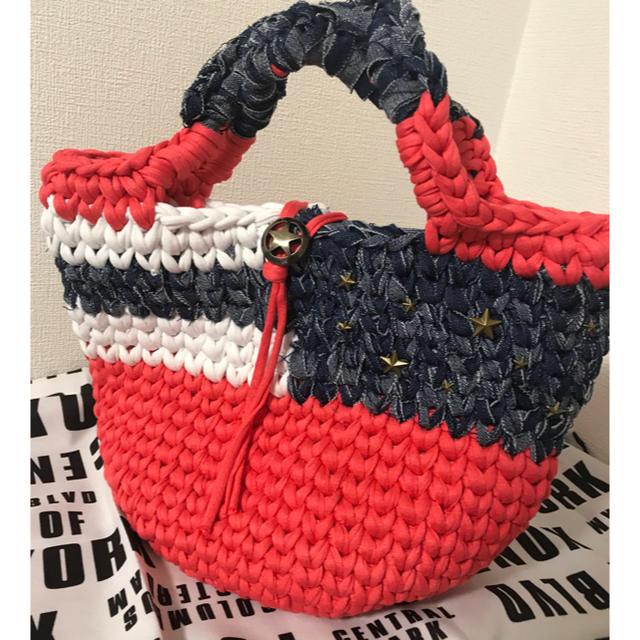 ズパゲッティバッグ 星条旗 マルシェ ピンク ミニマルシェプレゼント ハンドメイドのファッション小物(バッグ)の商品写真