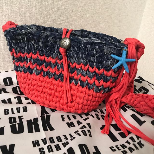 ズパゲッティバッグ ショルダーバッグ デニム×ピンク ミニマルシェプレゼント ハンドメイドのファッション小物(バッグ)の商品写真