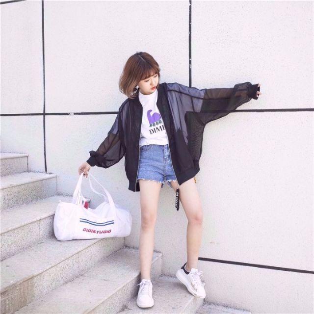 【大人気!!】メッシュ ライトアウター スケルトン ブラック レディースのトップス(Tシャツ(長袖/七分))の商品写真