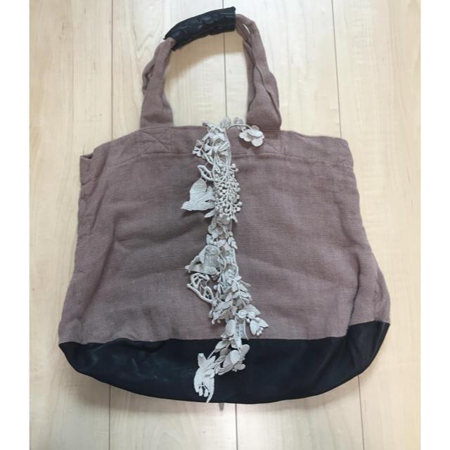 mina perhonen(ミナペルホネン)の値下げ!ミナペルホネン マロンバッグ モンブラン色 ブラックレザー レディースのバッグ(トートバッグ)の商品写真