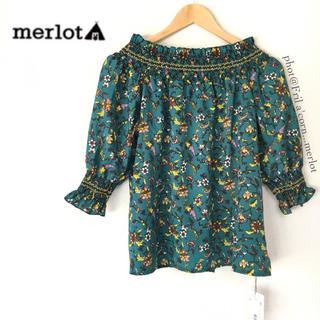 メルロー(merlot)のメルロー 2wayボタニカルオフショルダートップス *グリーン(シャツ/ブラウス(半袖/袖なし))