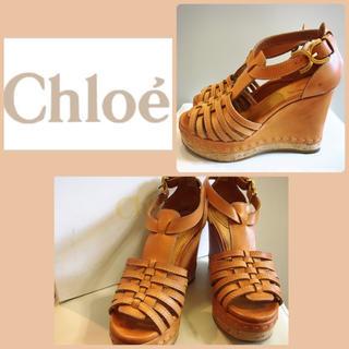 クロエ(Chloe)のクロエ♡ブラウンレザー ウエッジ サンダル♡(サンダル)
