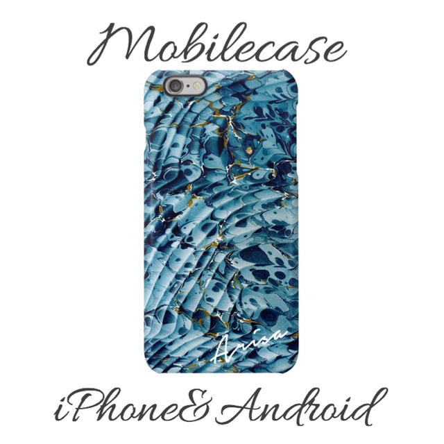 burberry iphone7plus ケース バンパー | 名入れ可能♡アクアマーブル柄スマホケース♡iPhone以外も対応機種多数あり♡の通販 by welina mahalo|ラクマ