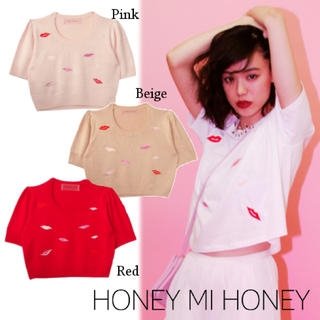 ハニーミーハニー(Honey mi Honey)のハニーミーハニー リップニットトップス(カットソー(半袖/袖なし))