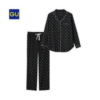 ジーユー(GU)のGU ハート柄 パジャマ ブラック XLサイズ ハート 長袖(パジャマ)