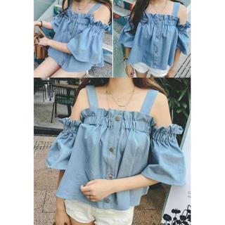 【春夏韓国ファッション♡】パフ袖が可愛い♪流行りの無地ゆったりオフショルダー♡