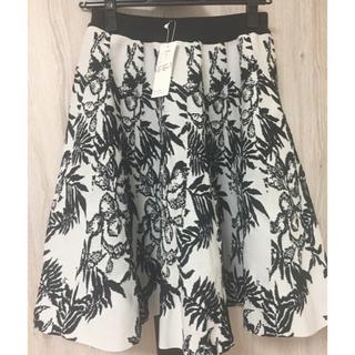 ルシェルブルー(LE CIEL BLEU)の新品未使用ルシェルブルーボタニカル柄スカート(ひざ丈スカート)