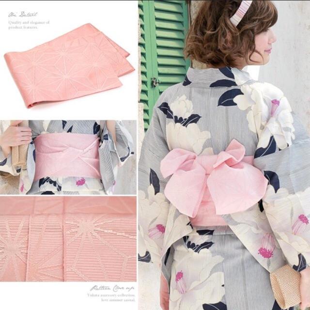 浴衣3点セット☆半幅帯☆白 ストライプ 椿☆ レディースの水着/浴衣(浴衣)の商品写真