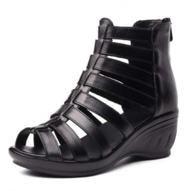 レディース サンダル ブーツサンダル サマーブーツ 厚底 本革 黒 レディースの靴/シューズ(サンダル)の商品写真