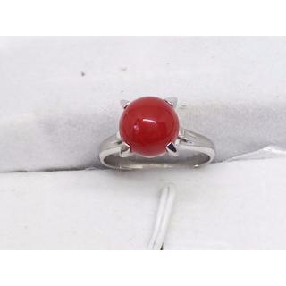 Pt900 ●赤珊瑚9.0㎜ リング●  5.59g 15号(リング(指輪))
