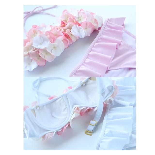 【大人気商品!!】花びら バンドゥ ビキニ(ホワイト,M) レディースの水着/浴衣(水着)の商品写真